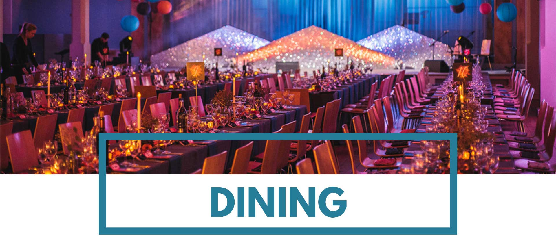 Banquet style dining and event lighting at St Mary's Venue Hire, London