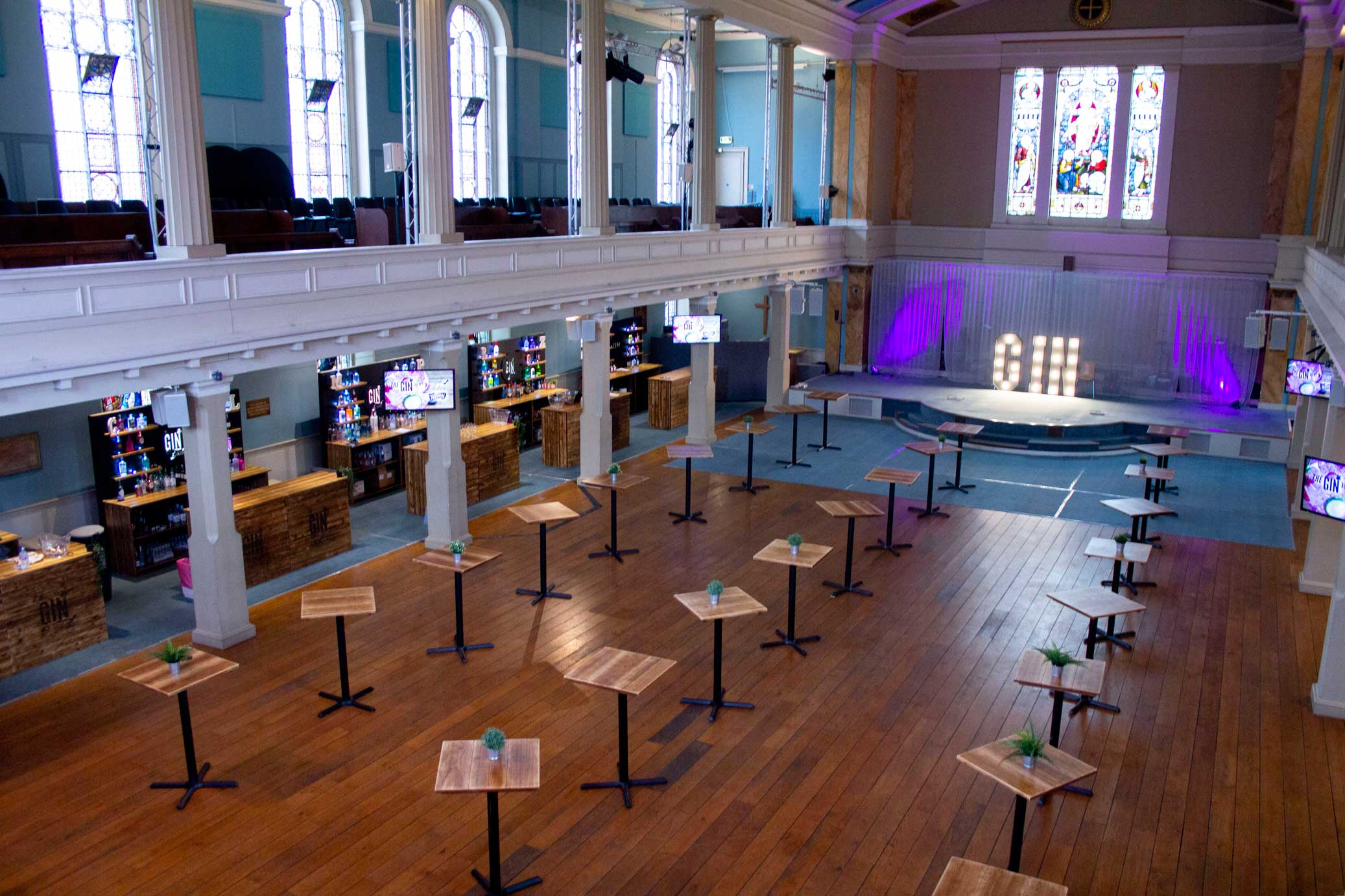 venue set up with poseur tables for alcohol tasting festival
