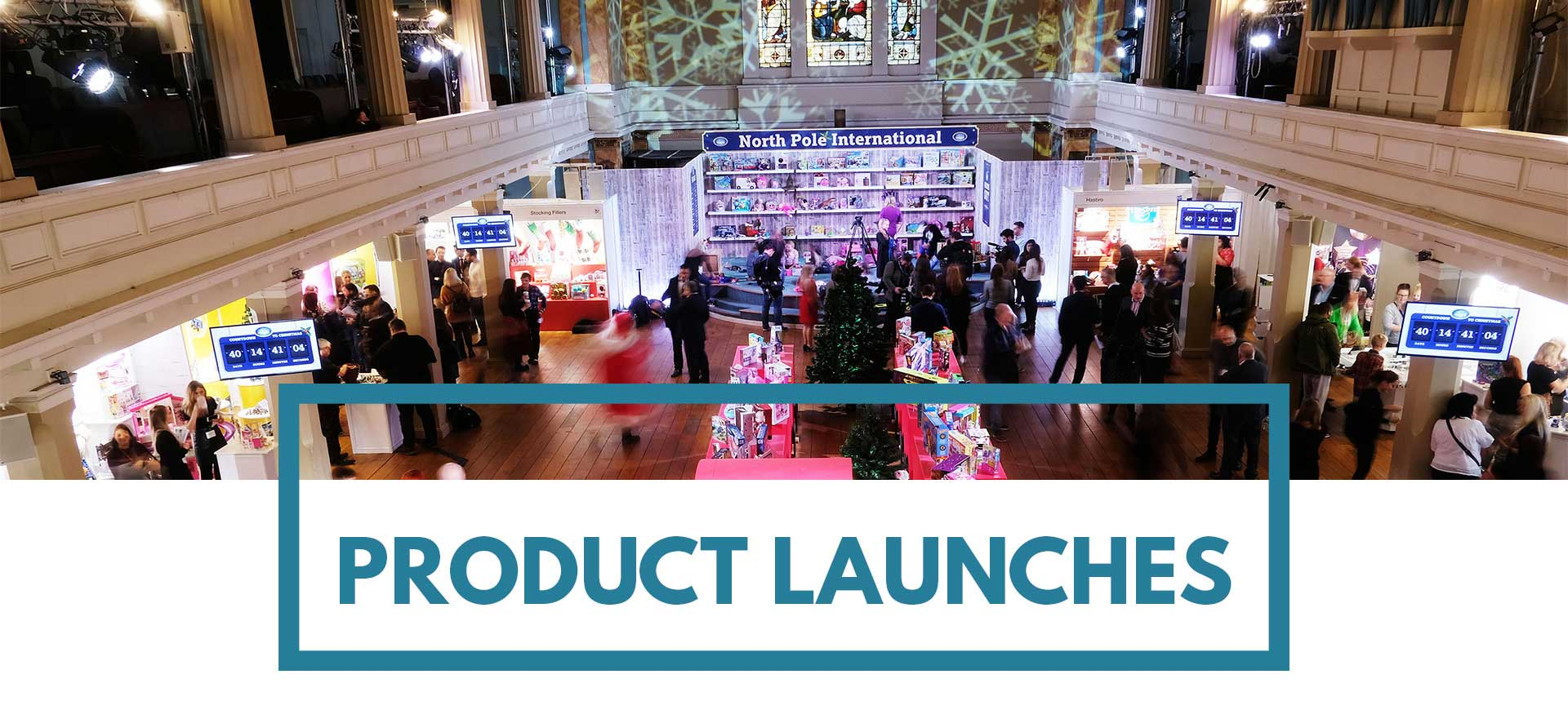 Image of Christmas toy product launch for press at St Mary's Venue Hire London