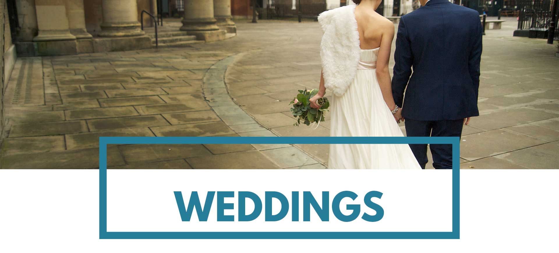 Newly married couple on the piazza at St Mary's Venue Hire London