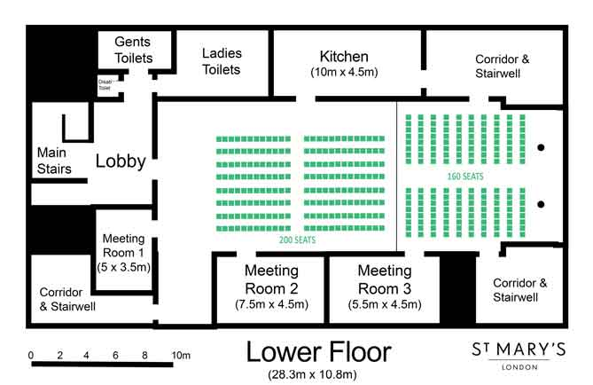 2 partitioned rooms on the lower floor seating 360 Theatre style at St Mary's London Venue Hire