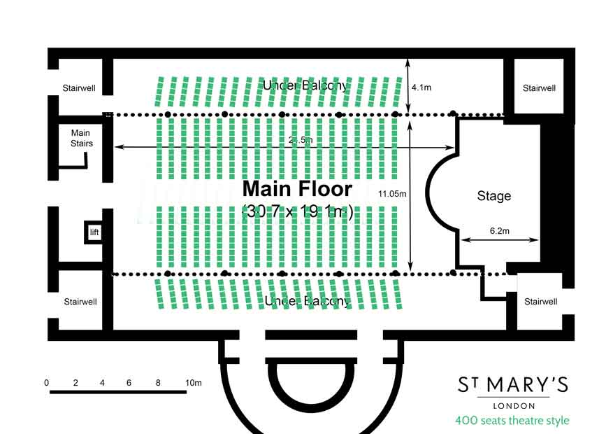 600 seats theatre style with central aisle floor plan for St Mary's Venue Hire London