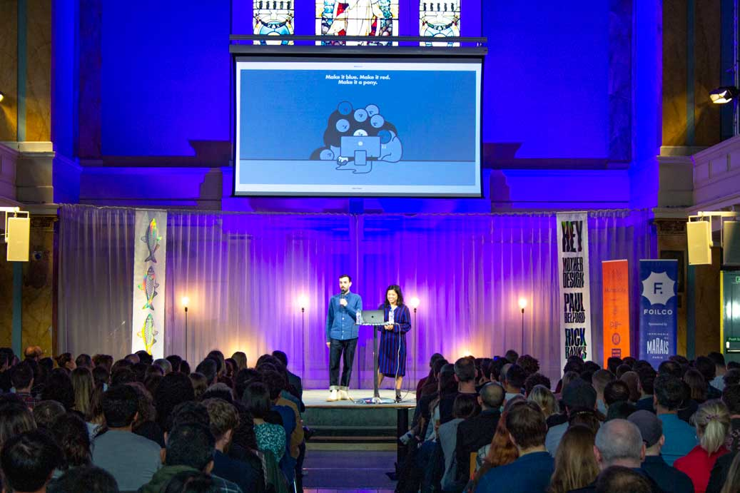 graphics presentation conference for designers at Conference with screens and sofa style seating at St Mary's Venue Hire, London
