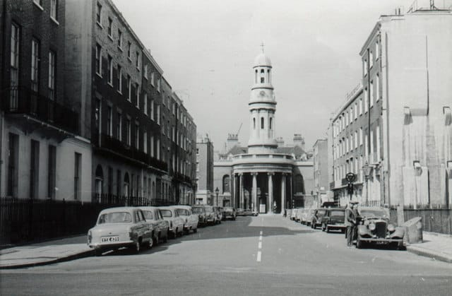 Black and White Historic Photo of St Mary's Church London from Bryanston Square