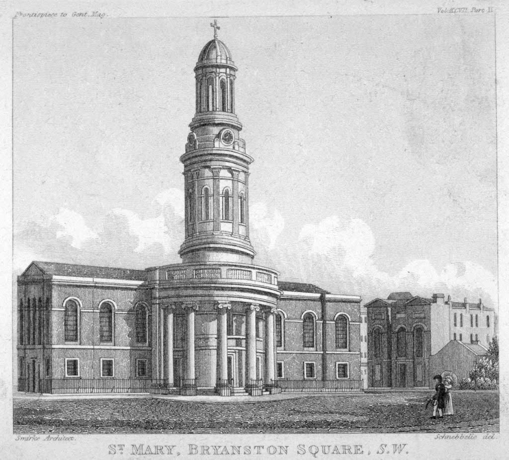 original drawing of St Mary's Bryanston Square, London