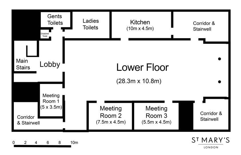 Floorplan of the lower Floor at St Mary's London Venue Gire