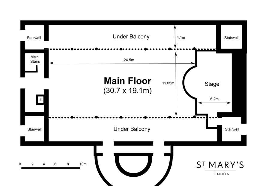 floorplan of the Auditorium at St Mary's London Venue Hire