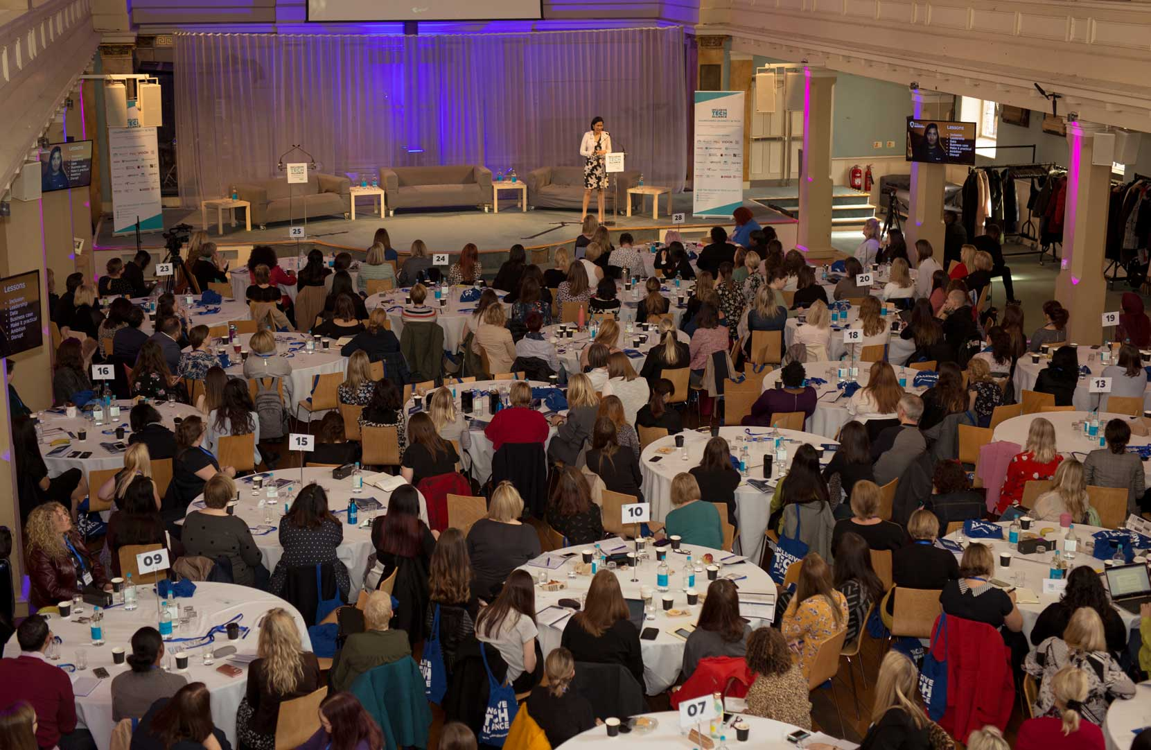 cabaret style conference for 250 guests at Conference with screens and sofa style seating at St Mary's Venue Hire, London