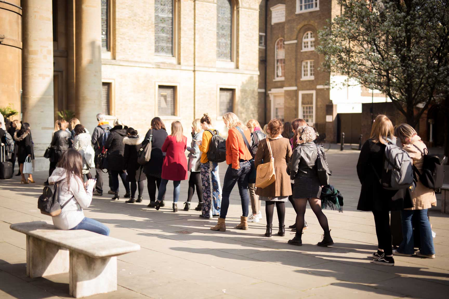 queuing for conference at Conference with screens and sofa style seating at St Mary's Venue Hire, London