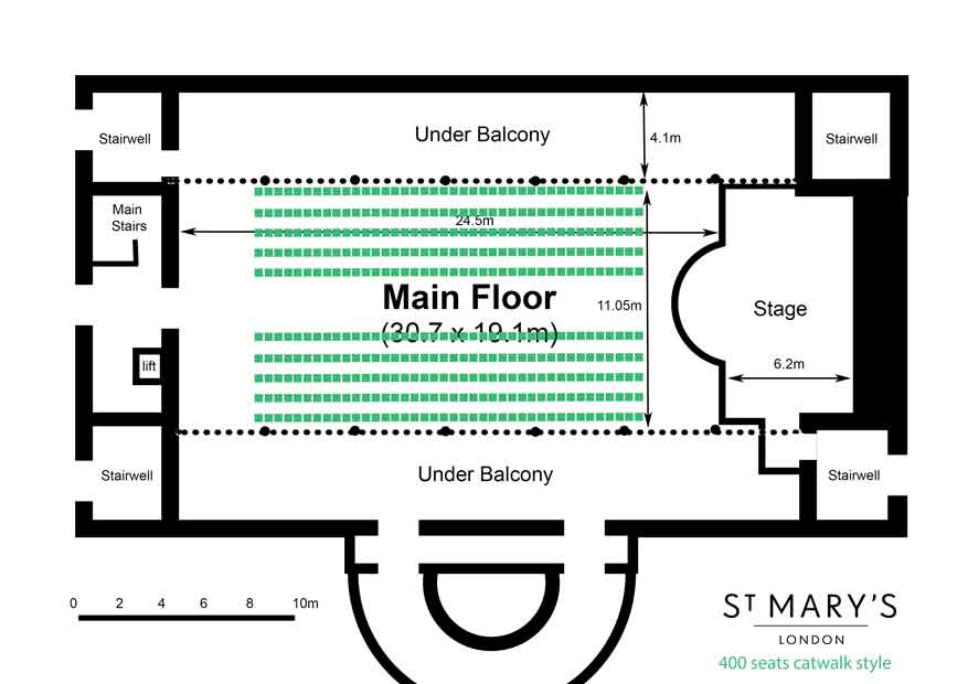 catwalk seating for a fashion show at St Mary's London Venue Hire