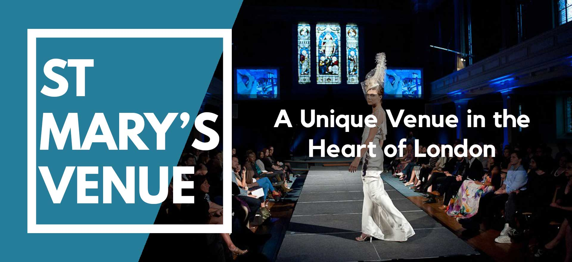 Fashion Show with model on the runway at St Mary's Venue Hire, London