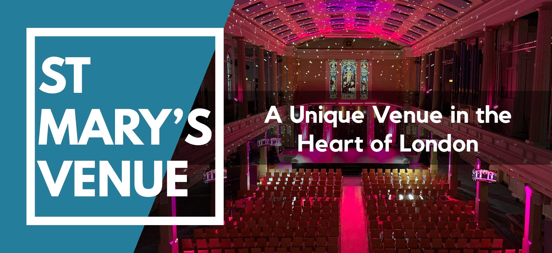 600 seats theatre style with stage and pink event lighting