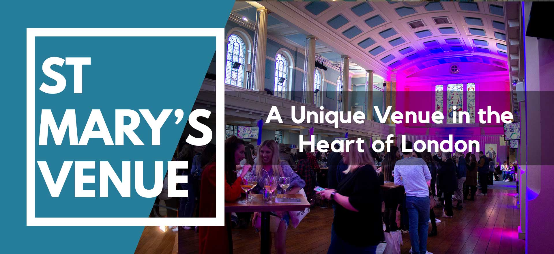 Gin festival with poseur tables and pink and blue lighting at St Mary's Venue Hire, London
