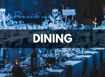 Place setting of banquet style dining at St Mary's Venue Hire, London
