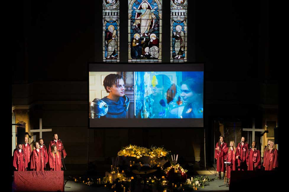 Wide screen cinema with live choir at St Mary's Venue Hire, London