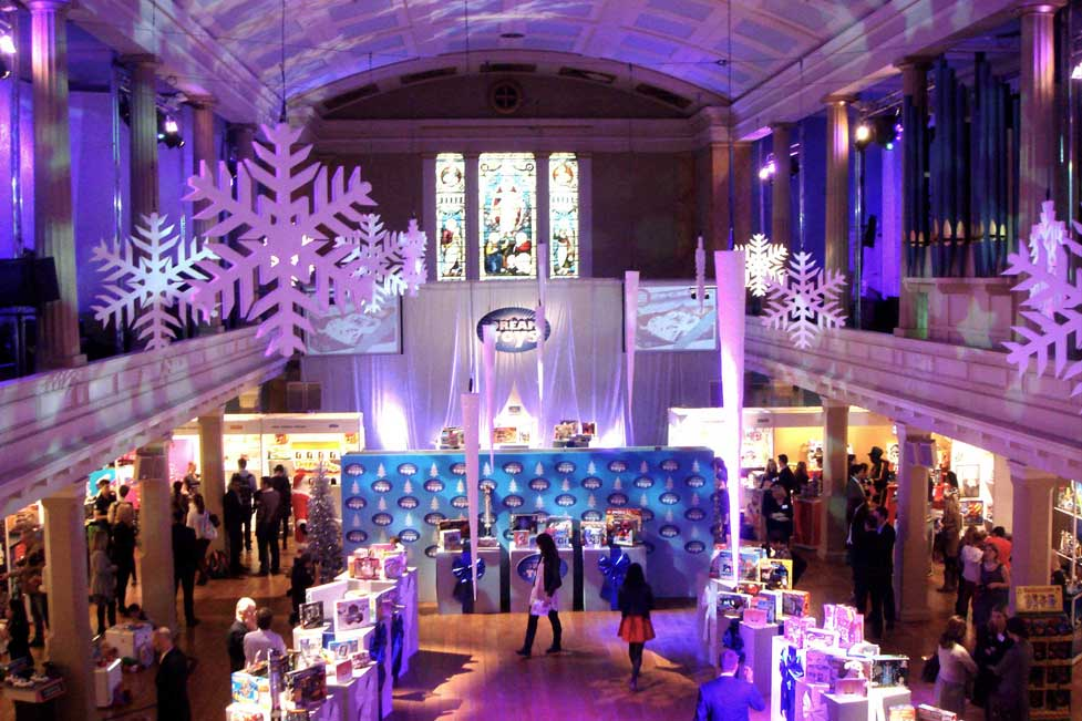 Purple lighting at christmas decorations at toy product launch at St Mary's Venue Hire, London