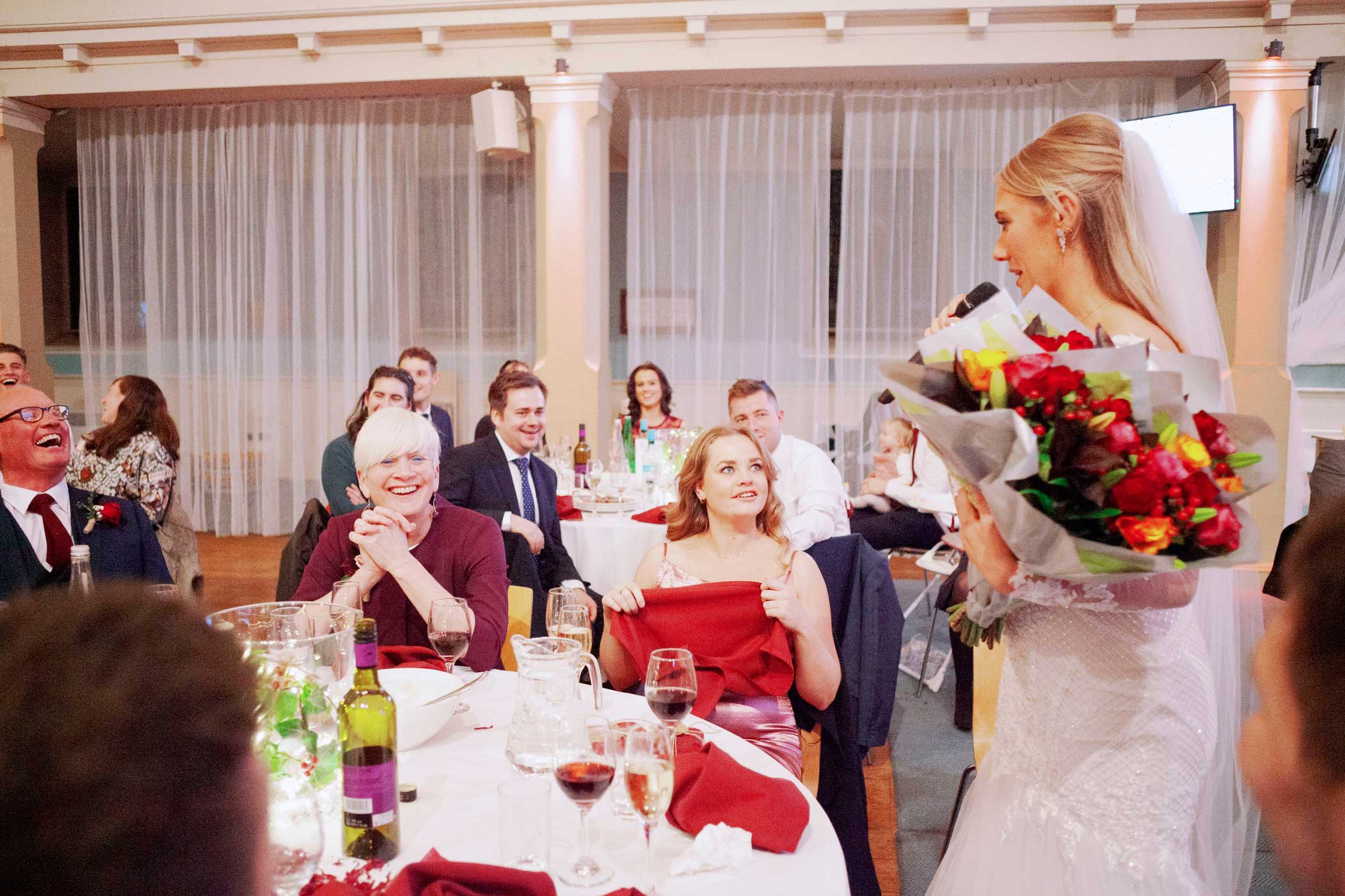 Bride giving speech to her wedding guests at Wedding Reception - St Mary's Venue Hire, London