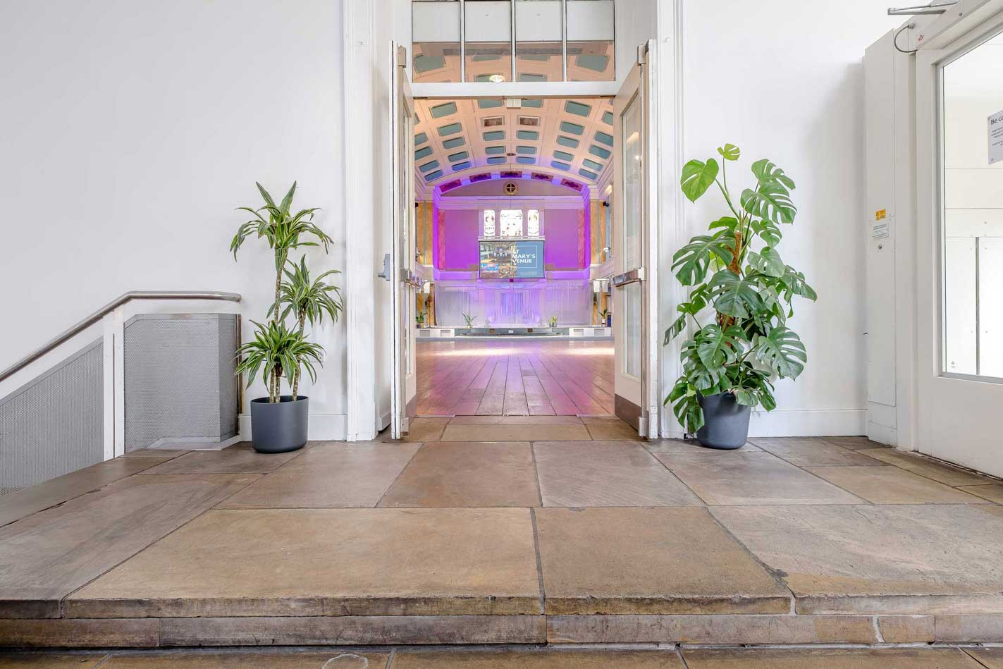 View into the main auditorium from the atrium at St Mary's Venue Hire