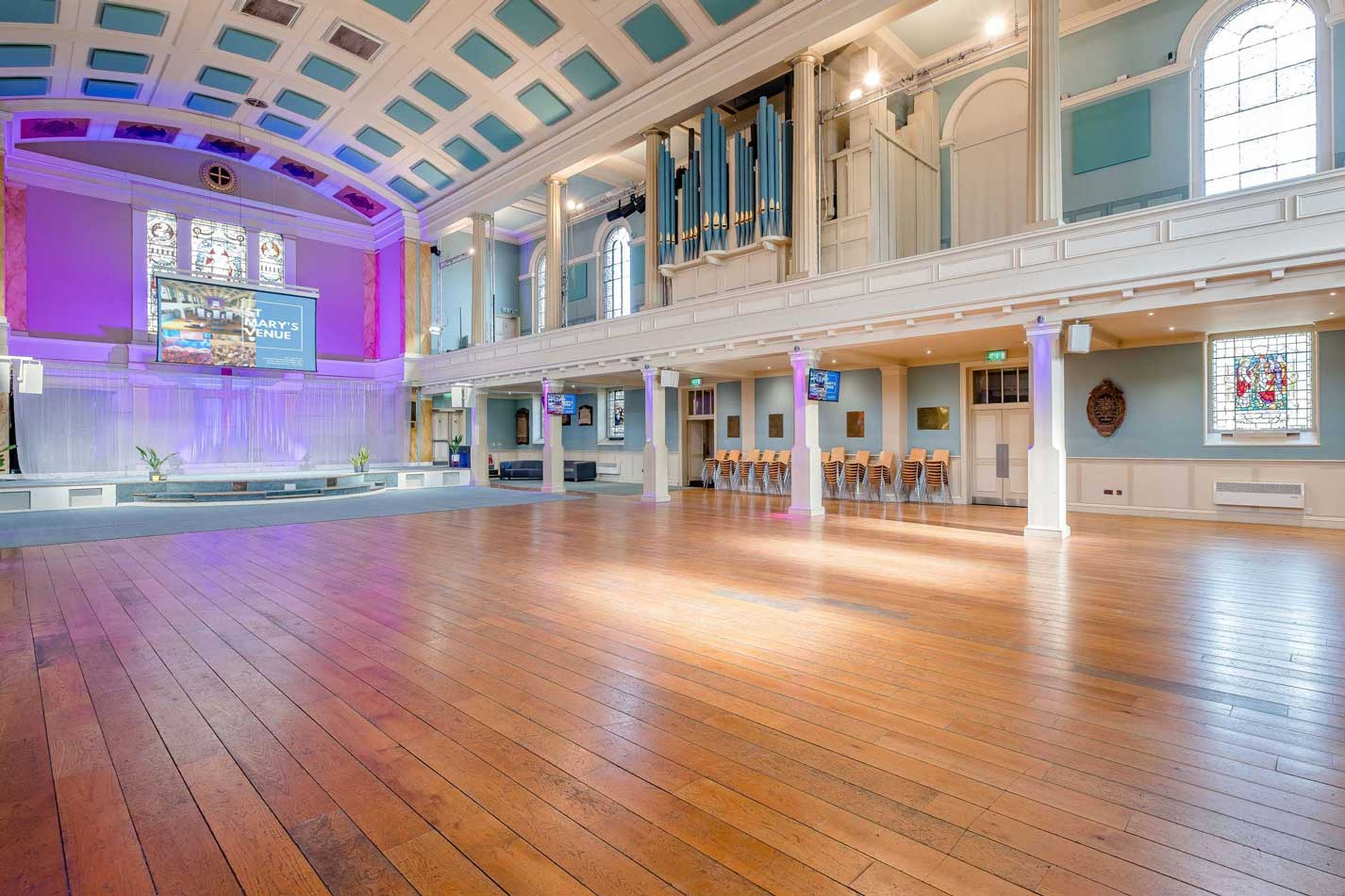 image of the main auditorium at St Mary's Venue Hire with organ and main stage