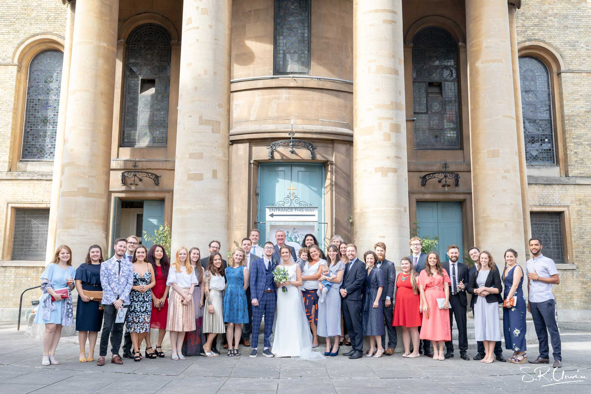 group photo of guests at a wedding St Mary's Venue Hire, London