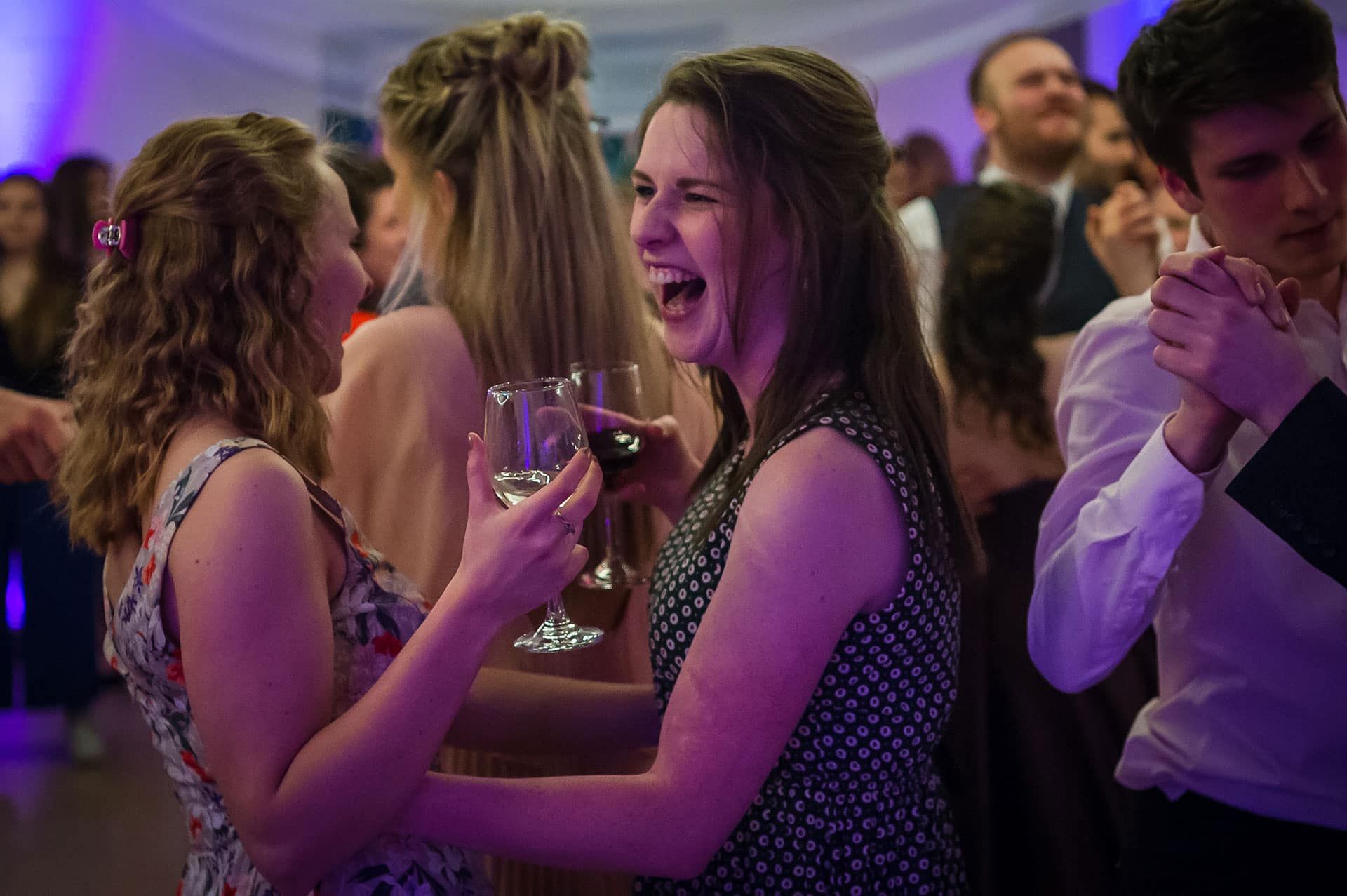 laughing guest at a wedding reception at St Mary's Venue Hire