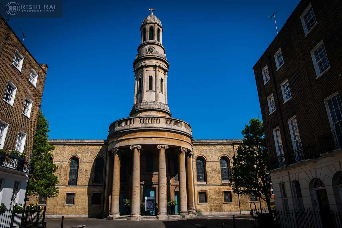 Exterior of St Mary's Church London from Wyndham Place Piazza, Marylebone