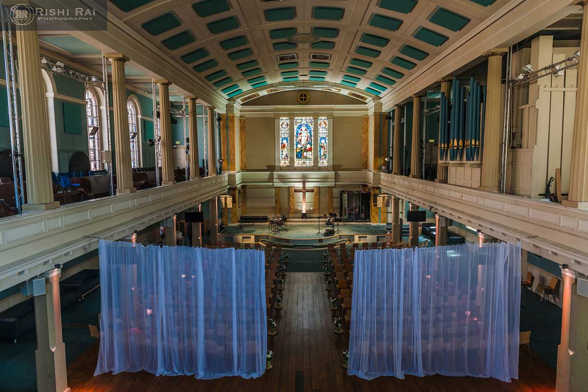 St Mary's Venue, London set up for a wedding service