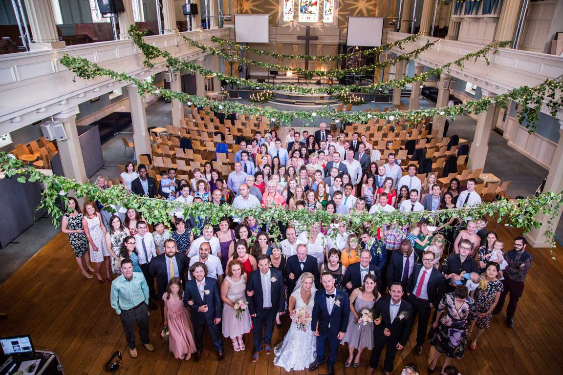 Group photograph after the wedding at St Mary's London