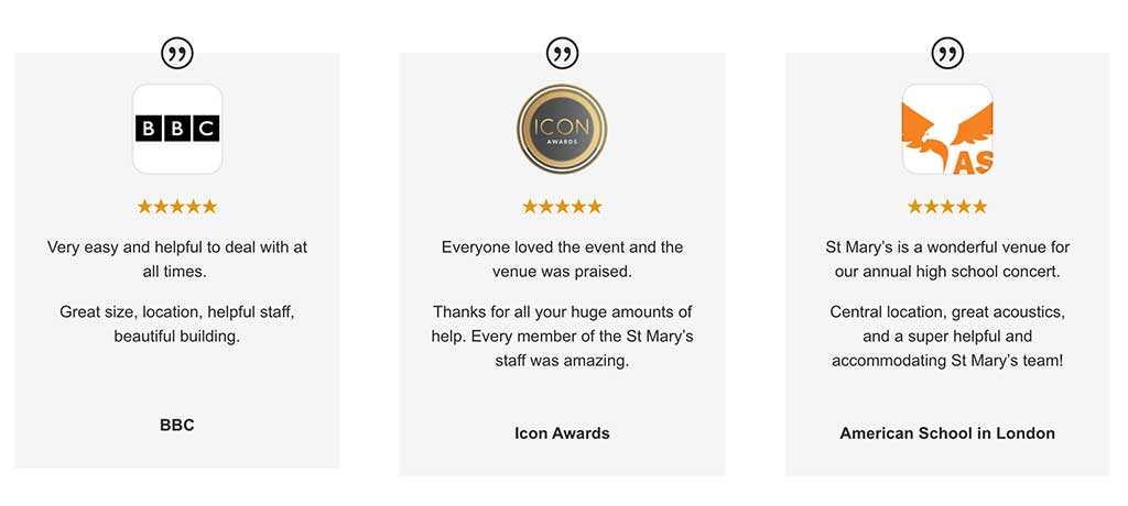 5 star reviews from happy clients at St Mary's London Venue Hire